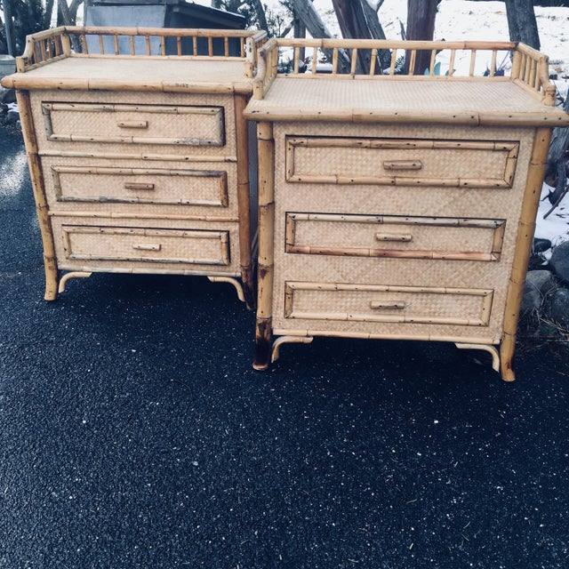 1970s Boho Chic Rattan Calif Asia and Cartel Nightstands - a Pair For Sale - Image 9 of 10