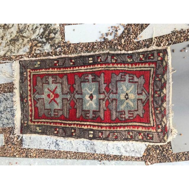 "Tribal Hand Made Vintage Tribal Turkish Runner Rug Mat 1'8""x2'9"" For Sale - Image 3 of 8"