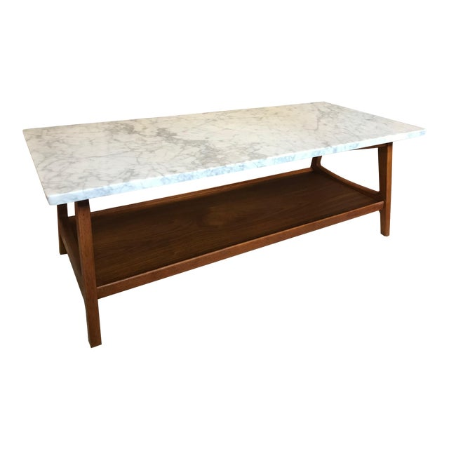West Elm Reeve MidCentury Rectangular White Marble Top Coffee - Rectangle white marble coffee table