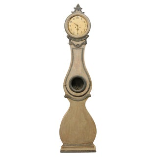 19th Century Swedish Fryksdahl Painted Wood Floor Clock With Carved Crest For Sale