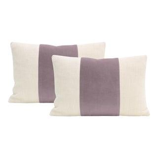 "12""x18"" Smokey Lavender Velvet Panel & Linen Lumbar Pillows - a Pair For Sale"