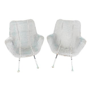 Russell Woodard Sculptura Wrought Iron and Mesh Armchairs - a Pair For Sale