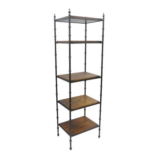 Vintage Italian Hollywood Regency Faux Bamboo Iron & Wood Etagere Narrow Curio Shelf