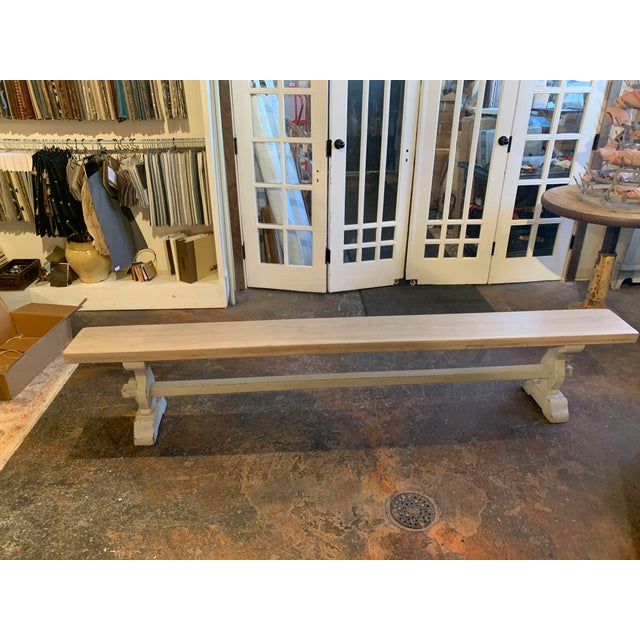 Lovely antique French trestle bench form Bordeaux, France. It was made between 1860 and 1880. This bench was purchased on...