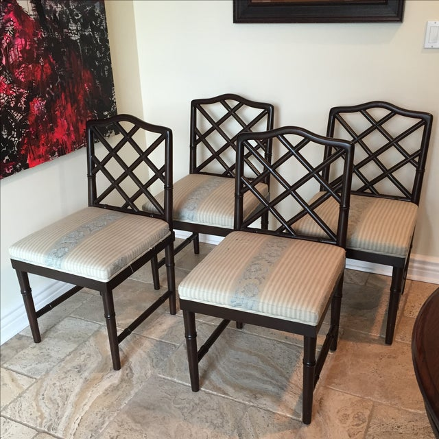 Solid Wood Chippendale Dining Chairs - Set of 4 - Image 3 of 6