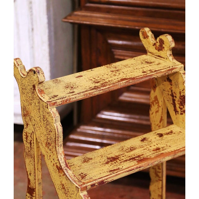 Mid-Century French Country Carved and Painted Pine Library Step Ladder For Sale - Image 4 of 13