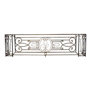A Long Belle Époque Antique Wrought Iron Balcony Gate From Argentina For Sale