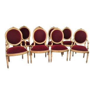 Piedmontese Neoclassical Style Cream & Gilt Carved Dining Chairs - Set of 8