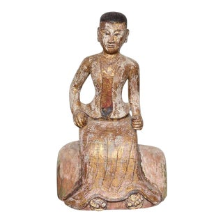 Burmese, 19th Century Teak Wood Statuette of a Woman in Traditional Costume For Sale