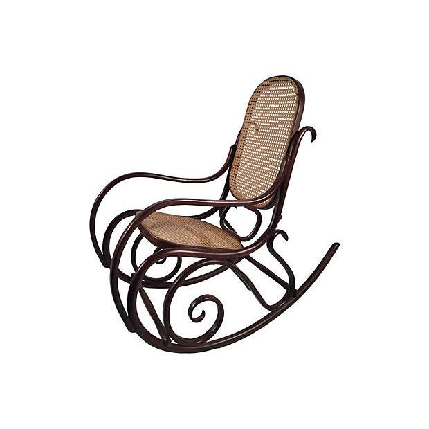 Thonet Attri. Caned Bentwood Rocking Chair - Image 5 of 7