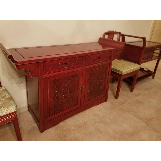 1960s Vintage Chinese Rosewood Imperial Dragon Credenza For Sale - Image 5 of 7