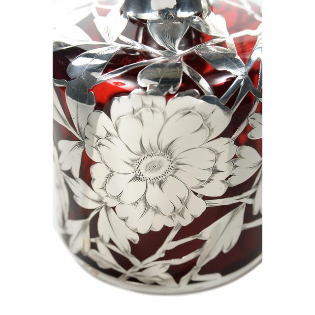 Antique Art Nouveau Silver Overlay Ruby Decanter - Image 8 of 9
