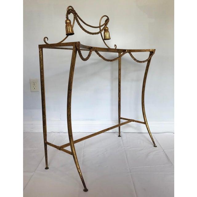 Hollywood Regency Vintage Italian Gold Metal Faux Rope Tassel Hollywood Regency Vanity Console Table For Sale - Image 3 of 12