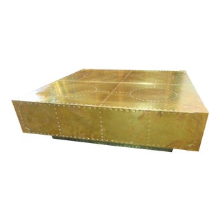 Sarreid Ltd Handcrafted Brass Coffee Table For Sale