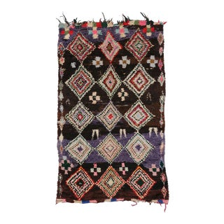 Boho Chic Vintage Berber Moroccan Rug with Tribal Style For Sale