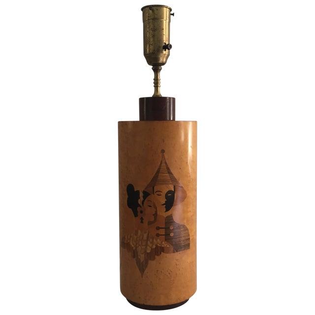Andrew Szoeke Mid-Century Art Deco Inlaid Lamp - Image 1 of 11
