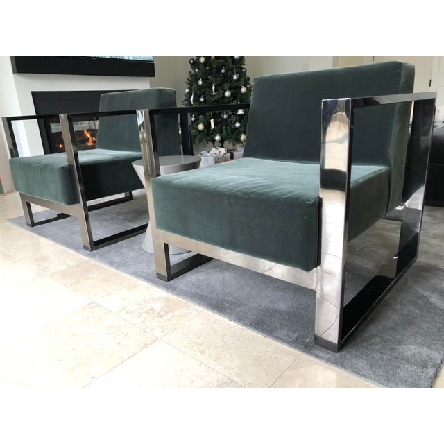 Dark Green Mid Century Modern Cube Chrome Lounge Chairs - a Pair For Sale - Image 8 of 8