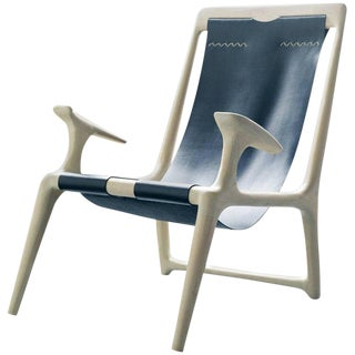 Contemporary White Ash and Blue Leather Sling Chair For Sale
