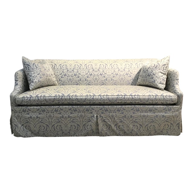 Hickory Chair Traditional Blue and Silver Damask Sateen Skirted Sofa For Sale