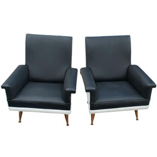 Pair of Italian Black and White Lounge Chairs Preview