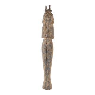 French Egyptian Revival Carved Wood Figure of King Tutankamun For Sale