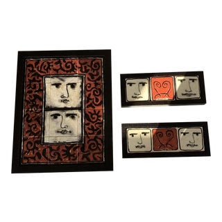 Framed Hand Painted Ceramic Portuguese Tile Pictures - Set of 3 For Sale