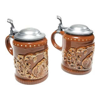 Vintage Ceramic & Pewter Steins - A Pair