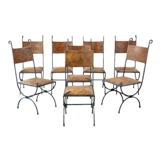 Eight Llana Goor Style Curule Leg Iron Leather Dining Chairs For Sale