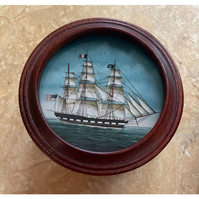 American Vintage American Clipper Ship Reverse Painted Wood Box, Round Trinket Box For Sale - Image 3 of 11