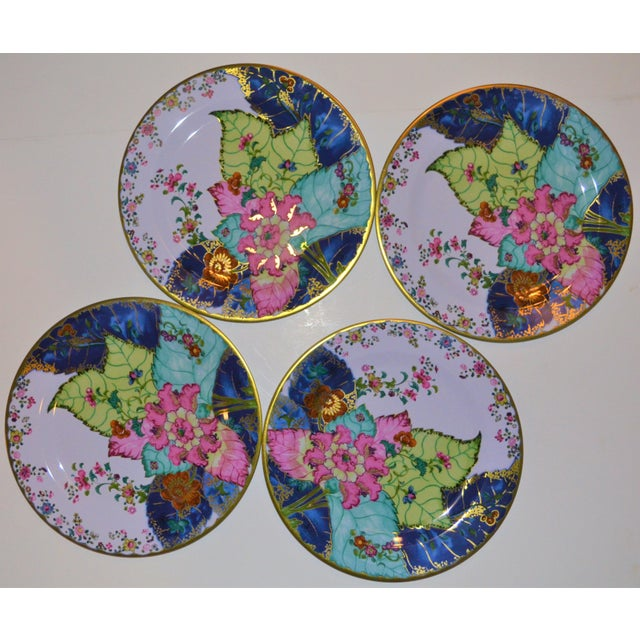 Enamaled Tin Tobacco Leaf Plates - Set of 4 For Sale - Image 12 of 13