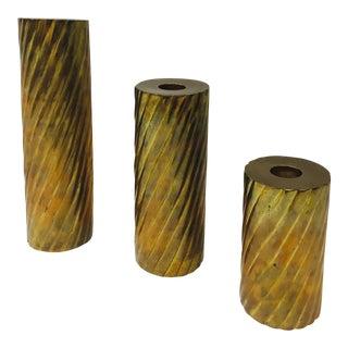 Vintage Twisted Brass Candlesticks - Set of 3