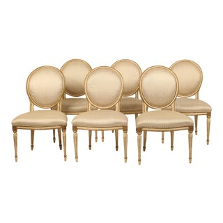 Vintage Louis XVI Style Dining Room Chairs-Set Of 6 For Sale