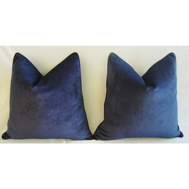 Large Designer Midnight Blue Velvet Feather/Down Pillows - Pair For Sale - Image 5 of 10