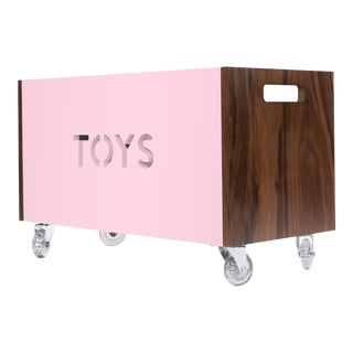 Toy Box Chest on Casters in Walnut With Pink Finish For Sale
