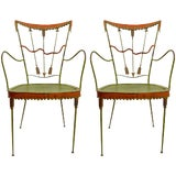 Image of Pair of Tomaso Buzzi Wrought Iron Armchairs For Sale