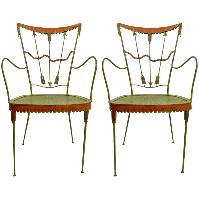 Pair of Tomaso Buzzi Wrought Iron Armchairs For Sale