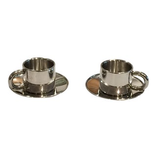 Modern Italian Stainless Steel Espresso Cups and Saucers by Arvind Design Collection - Set of 2 For Sale