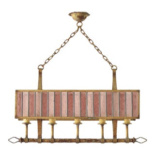 Iron and Stained Glass Chandelier For Sale