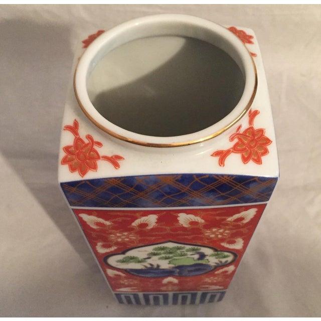 Late 20th Century Contemporary Japanese Imari Porcelain Column Vase For Sale - Image 5 of 7