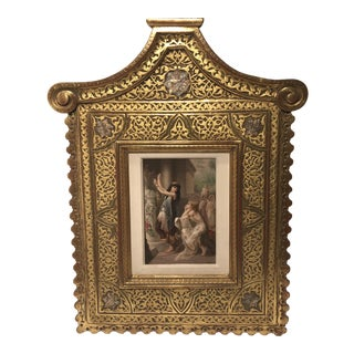 """Oriental Women"" Porcelain Plaque With Gilded Frame For Sale"