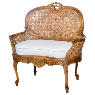Antique French C.1870-1880 Louis XVI Style Hand Carved Wood Settee With Double Canning For Sale