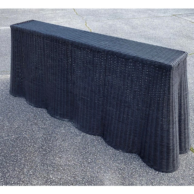 """Natural Rattan Console Table 79"""" Long in Black For Sale - Image 4 of 11"""