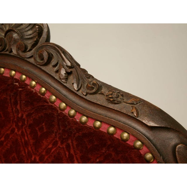 Textile Exquisite Heavily Carved Antique French Louis XV Walnut Fauteuils - a Pair For Sale - Image 7 of 10