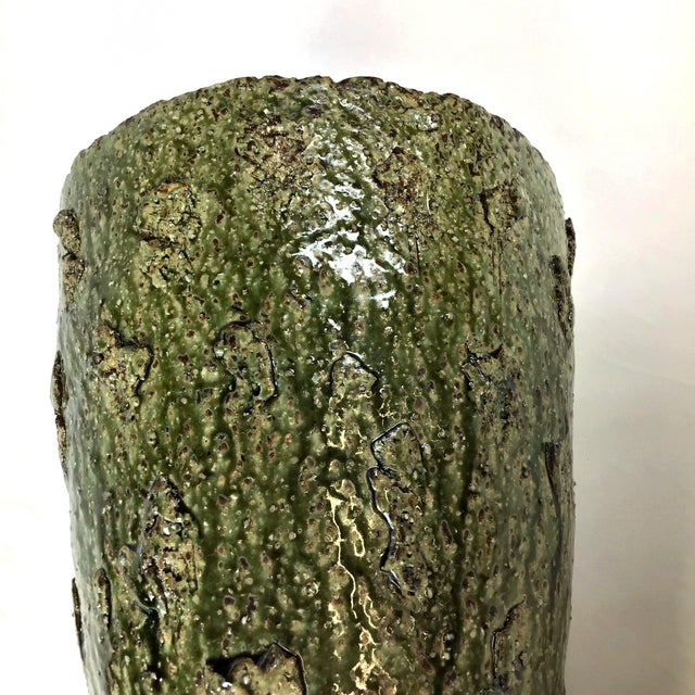 Japanese Wood Fired Contemporary Textural Organic Vase For Sale In Portland, ME - Image 6 of 9