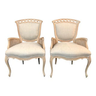 French Louis XV Cane & Carved Wood Bergere Armchairs - A Pair