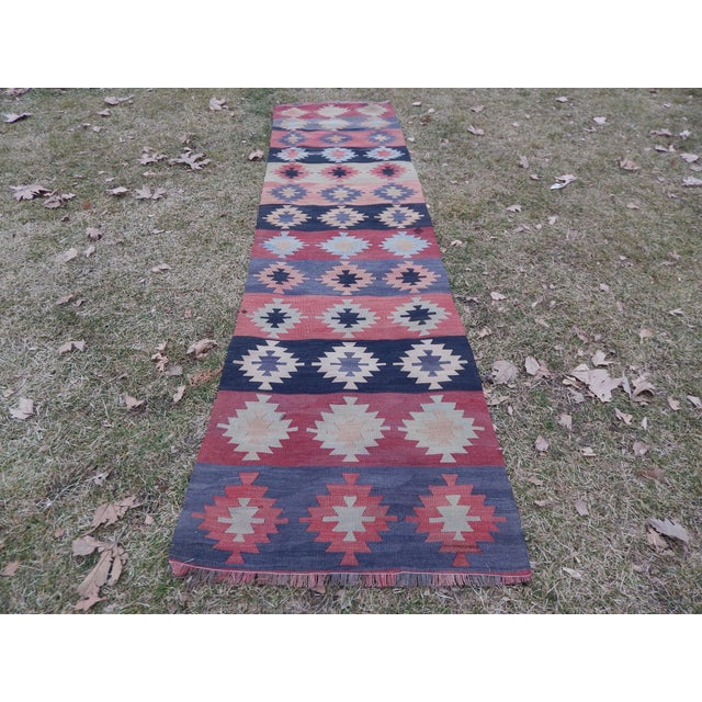 "Rustic Vintage Muted Orange Turkish Kilim Runner Rug 2'6"" X 9'4"" For Sale - Image 3 of 13"