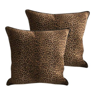 Designer Square Cheetah Pillows - Set of 2 For Sale
