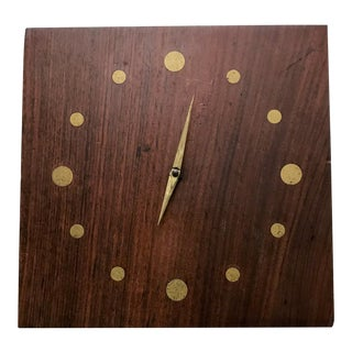 Solid Rosewood and Brass Wall Clock Mid-Century Modern Period For Sale