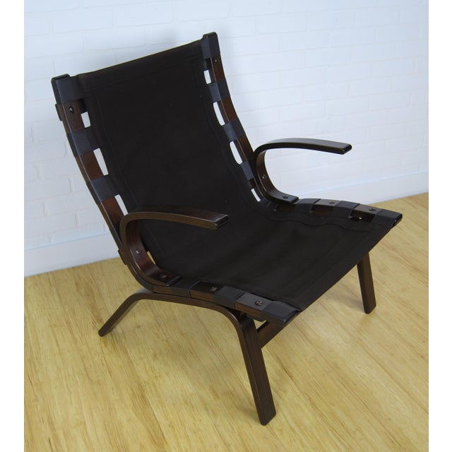 Scandinavian Brown Leather Lounge Chair For Sale In New York - Image 6 of 7