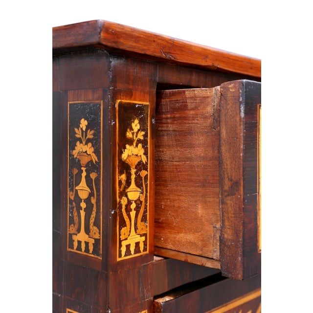 Italian Neoclassic Marquetry Inlaid Commode For Sale - Image 9 of 13